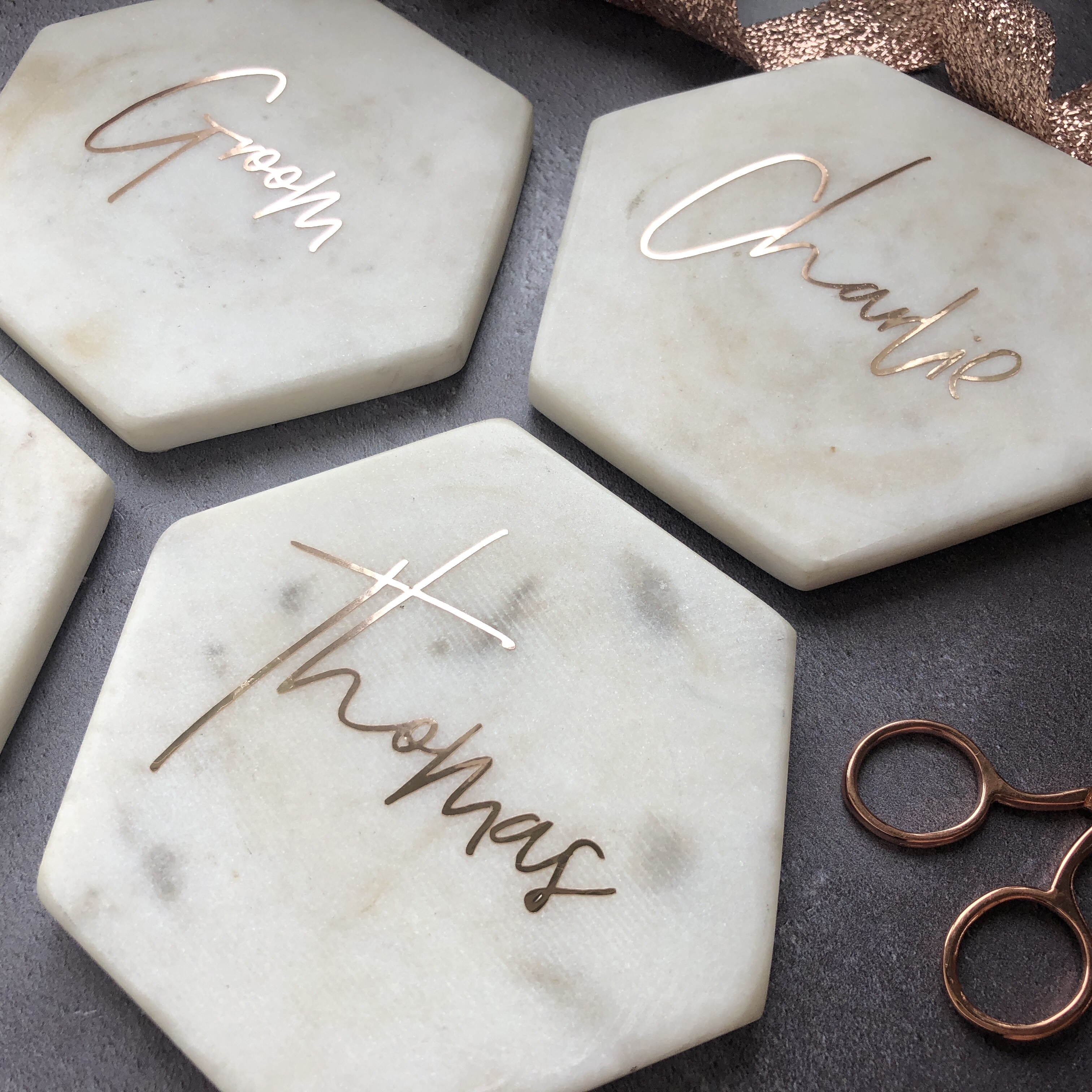 Personalised Marble Coasters Wedding Favours Polka Dot Paper